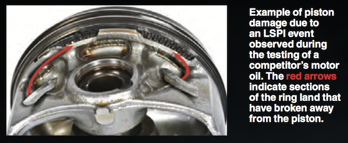LSPI piston damage when competitors motor oil is used